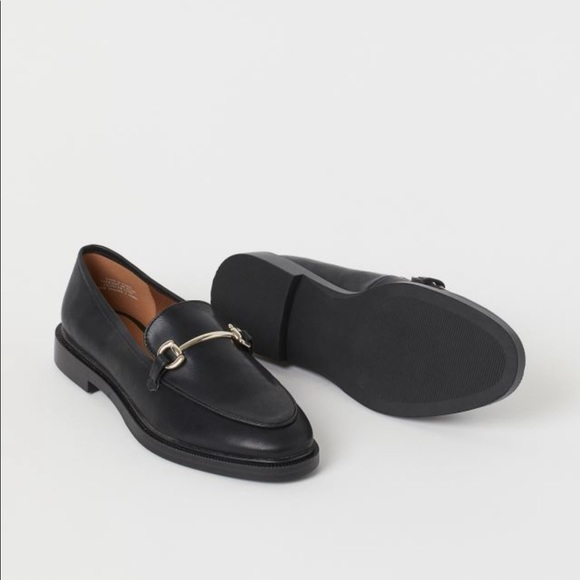H&M Genuine Leather Black Loafers Gold Buckle Size 39 NWT